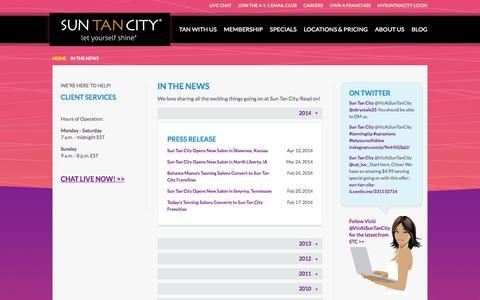 Screenshot of Press Page suntancity.com - Sun Tan City in News Articles and Press Releases - captured Nov. 3, 2015