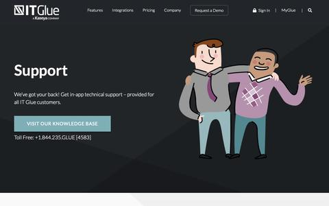 Screenshot of Support Page itglue.com - Support | IT Glue - captured Jan. 29, 2019