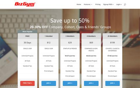 Screenshot of Pricing Page bizgym.com - Pricing - BizGym - captured April 28, 2016