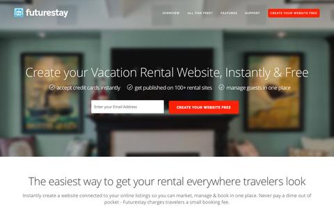 Screenshot of Home Page futurestay.com - Futurestay | Create Your Free Vacation Rental Website - captured Aug. 3, 2015