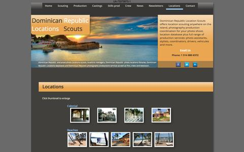 Screenshot of Locations Page dominican-republic-locations-scouts.com - Dominican Republic Locations Scouts; Films, TV, Videos, Stills 's in Dominican Republic - captured Aug. 2, 2016