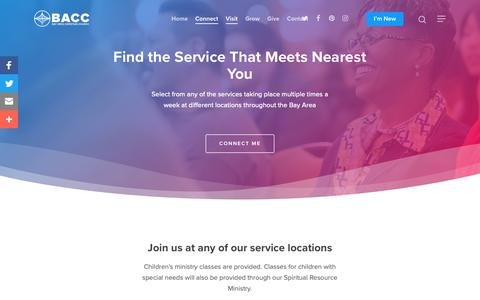 Screenshot of Services Page Locations Page bacc.cc - Locations   Find a Service that Meets Nearest You   Bay Area Christian Church - captured Oct. 5, 2018