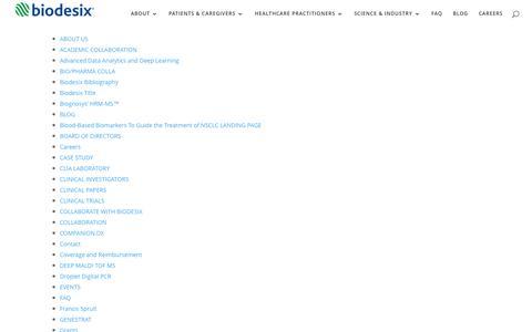 Screenshot of Site Map Page biodesix.com - Site Map | Biodesix - captured Nov. 14, 2015