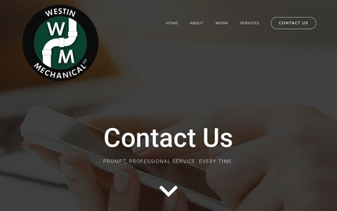 Screenshot of Contact Page westinmechanical.com - CONTACT US - Westin Mechanical - captured Oct. 20, 2018