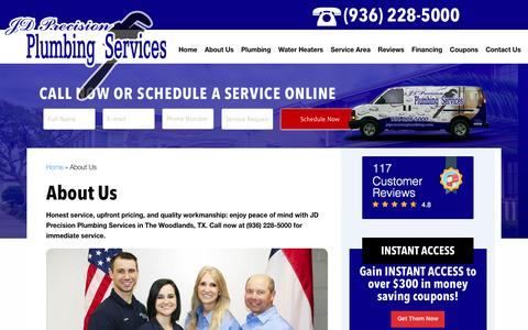 Screenshot of About Page jdprecisionplumbing.com - About JD Precision Plumbing Services The Woodlands, TX - captured Nov. 18, 2016