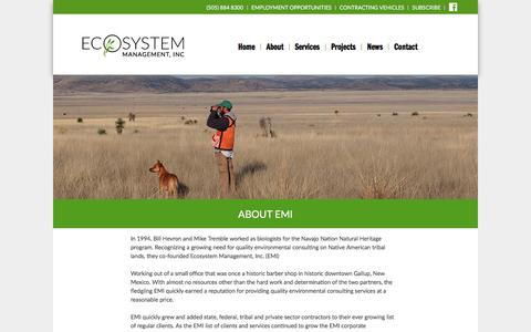 Screenshot of About Page emi-nm.com - About EMI - Ecosystem Management, Inc - captured July 15, 2017