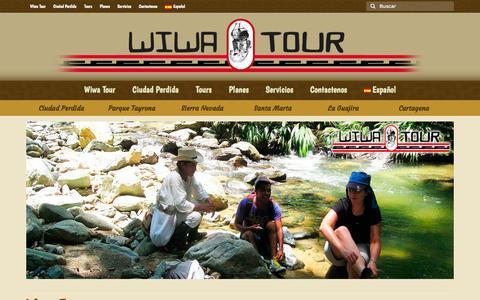 Screenshot of Home Page wiwatour.com - Tour Operador en Santa Marta tours en ciudad perdida Indigena - captured Sept. 23, 2014