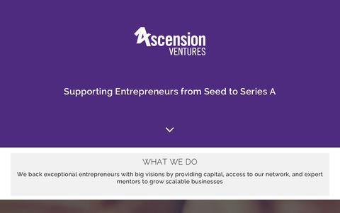 Screenshot of Home Page ascensionventures.com - Home - Ascension Ventures - captured Nov. 21, 2016