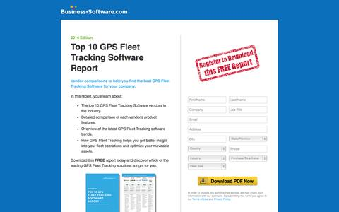 Screenshot of Landing Page business-software.com - Top 10 GPS Fleet Tracking Software Report - captured Oct. 28, 2014