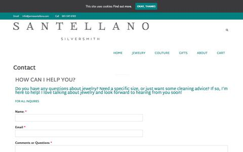 Screenshot of Contact Page jamiesantellano.com - Contact - Jamie Santellano - captured July 10, 2018