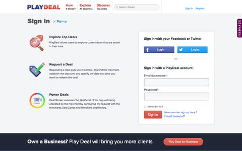 Screenshot of Login Page playdeal.ca - Playdeal - captured Sept. 19, 2014