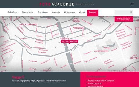 Screenshot of Contact Page fotoacademie.nl - Contact  | FotoAcademie Amsterdam - captured Aug. 4, 2016