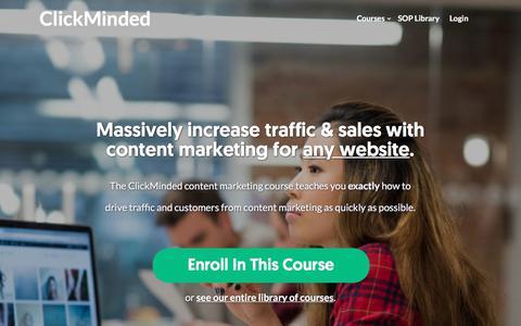 Screenshot of clickminded.com - Content Marketing Training For Startups - ClickMinded - captured Dec. 9, 2017