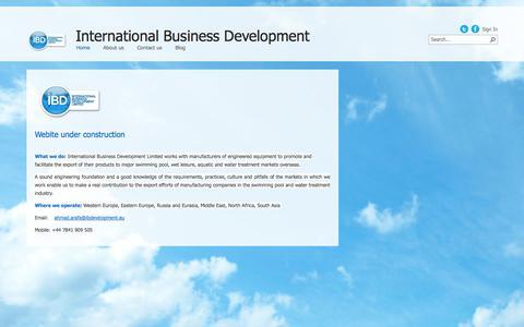 Screenshot of Home Page ibdevelopment.eu - Home - captured Oct. 6, 2014