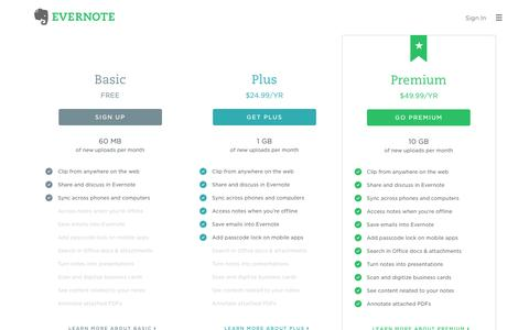 Screenshot of Pricing Page evernote.com - Get Evernote Basic for free or upgrade to Plus or Premium | Evernote - captured June 2, 2016