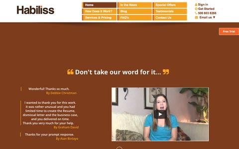 Screenshot of Home Page habiliss.com - Personal / Virtual Assistant Services - Try Habiliss Assistants - captured Sept. 8, 2016