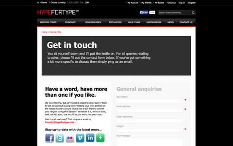 Screenshot of Contact Page hypefortype.com - Contact Us - captured Sept. 19, 2014