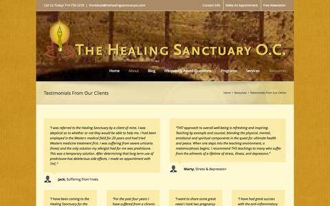 Screenshot of Testimonials Page thehealingsanctuaryoc.com - The Healing Sanctuary   –  Testimonials From Our Clients - captured Oct. 26, 2014