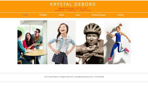 Screenshot of Home Page krystaldebord.com - Krystal DeBord Wardrobe Stylist Los Angeles Sports Lifestyle Kids - captured Feb. 12, 2016