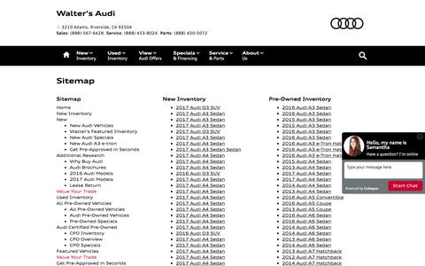 Screenshot of Site Map Page waltersaudi.com - Walter's Audi   New Inventory for sale in Riverside, CA 92504 - captured Dec. 25, 2016