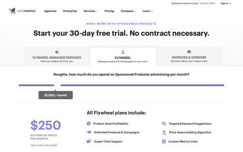 Screenshot of Pricing Page teikametrics.com - (1) New Message! - captured Jan. 18, 2019