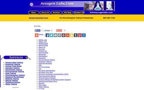 Screenshot of Site Map Page accugenlabs.com - Accugen Laboratories, Inc. - Microbiological Testing - Site Map - captured Oct. 4, 2014