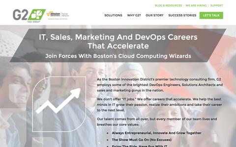 Screenshot of Jobs Page g2techgroup.com - Accelerate Your IT Career | G2 Technology Group - captured Jan. 6, 2016