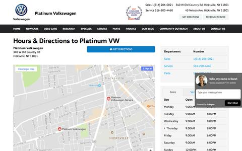 Screenshot of Hours Page platinumvw.com - Hours & Directions to Platinum Volkswagen in Hicksville, NY - captured Aug. 4, 2017