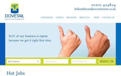 Screenshot of Home Page dovetailrecruitment.co.uk - Dovetail Recruitment Agency Bournemouth, Dorset Recruitment Service - captured Oct. 9, 2018