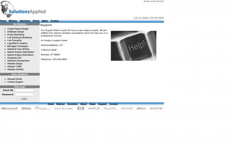 Screenshot of Support Page solutionsapplied.com - Effective E-Commerce Solutions - captured Oct. 6, 2014