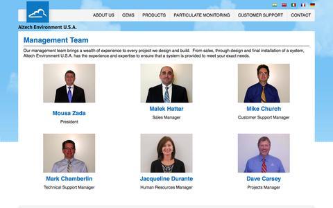 Screenshot of Team Page altechusa.com - Management Team and Leadership Team Profiles - captured Feb. 6, 2016