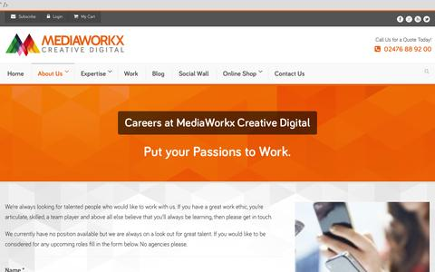 Screenshot of Jobs Page mediaworkx.co.uk - Careers at MediaWorkx - Professional Web Design West Midlands - captured Oct. 27, 2014