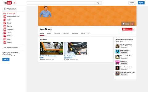 Screenshot of YouTube Page youtube.com - Joe Strada  - YouTube - captured Oct. 23, 2014
