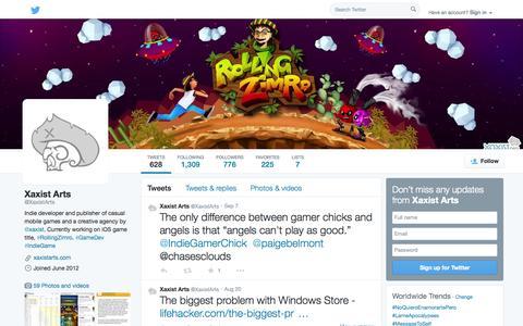 Screenshot of Twitter Page twitter.com - Xaxist Arts (@XaxistArts) | Twitter - captured Oct. 23, 2014