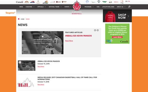 Screenshot of Press Page basketball.ca - Canada Basketball - captured Oct. 18, 2016