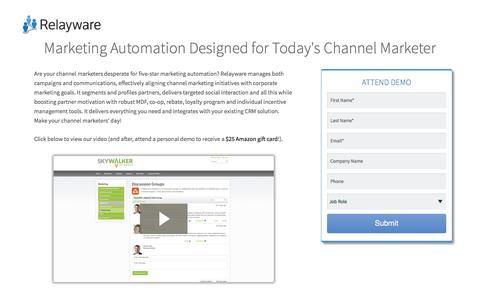 Screenshot of Landing Page relayware.com - Partner Marketing Pack Video | Relayware - captured July 13, 2016