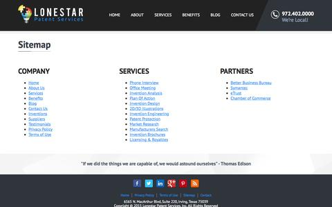 Screenshot of Site Map Page lspatents.com - Sitemap | Lonestar Patent Services - captured Sept. 26, 2015