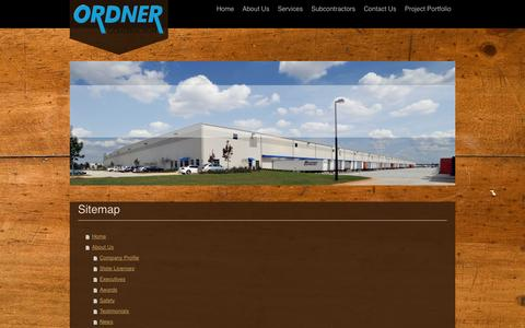 Screenshot of Site Map Page ordner.com - Ordner Construction Company - We Are The Benchmark - captured Oct. 26, 2014