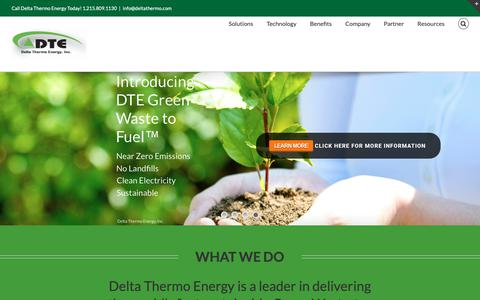 Screenshot of Home Page deltathermo.com - Delta Thermo Energy – Green Waste to Fuel - captured Dec. 19, 2018