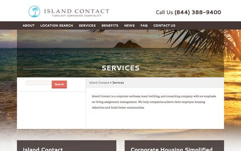 Screenshot of Services Page islandcontact.com - Services | Island Contact - captured Sept. 30, 2014