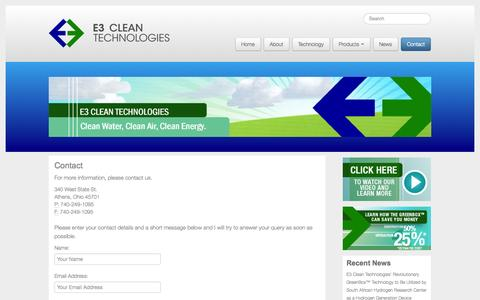 Screenshot of Contact Page e3cleantechnologies.com - Contact | E3 Clean Technologies - captured Sept. 26, 2014