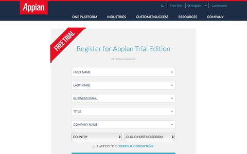 Screenshot of Trial Page appian.com - Appian Trial Edition Registration | Appian - captured Oct. 29, 2017