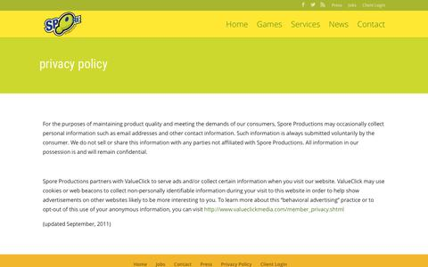 Screenshot of Privacy Page sporeproductions.com - Privacy Policy - SPORE Productions - captured May 26, 2017