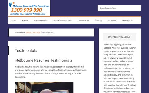 Screenshot of Testimonials Page melbourneresumes.com.au - Melbourne Resumes Testimonials Reviews and Client Feedback - captured Oct. 27, 2014