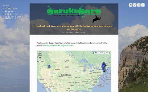 Screenshot of Locations Page garukabars.com - Retail Locations — Garuka Bars - captured Sept. 26, 2014