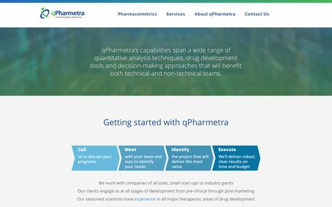 Screenshot of Services Page qpharmetra.com - Getting started with qPharmetra | Services | qPharmetra - captured July 19, 2016