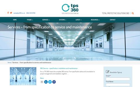 Screenshot of Services Page tps360.co.uk - Services | TPS360 | from specification to service and maintenance - captured Oct. 7, 2014