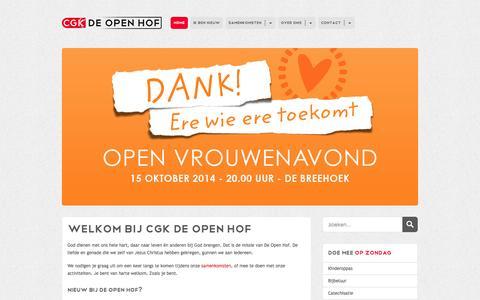 Screenshot of Home Page cgk-scherpenzeel.nl - CGK De Open Hof (Homepage) - captured Oct. 2, 2014