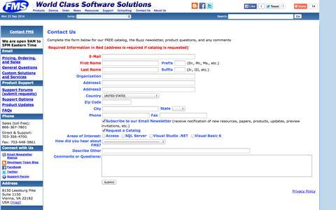 Screenshot of FAQ Page fmsinc.com - FMS Contact and Feedback - 8150 Leesburg Pike, Suite 1150, Vienna, Virginia 22182 near Washington DC - captured Sept. 23, 2014