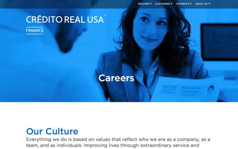 Screenshot of Jobs Page crealusa.com - Careers | Credito Real USA Finance - captured Aug. 20, 2018